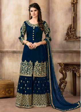 Invaluable Navy Blue Designer Palazzo Suit