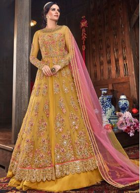 Invaluable Net Yellow Floor Length Anarkali Suit