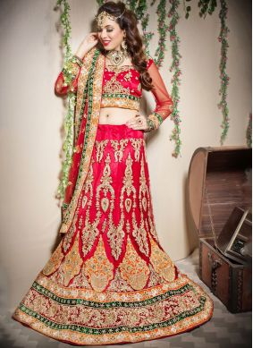 Invaluable Zari Red Designer Lehenga Choli