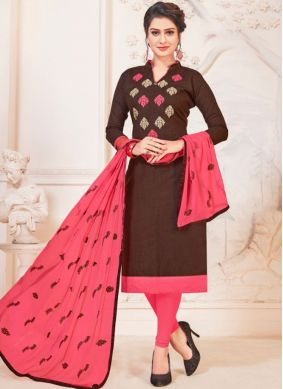 Irresistible Embroidered Cotton   Churidar Suit