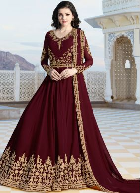 Irresistible Faux Georgette Maroon Floor Length Anarkali Suit