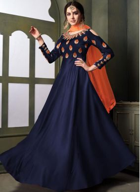Irresistible Navy Blue Trendy Gown