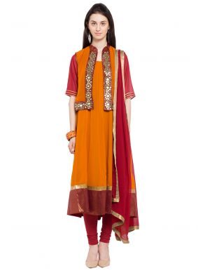 Rust Jacket Style Anarkali Suit For Reception