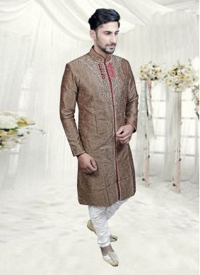 Jacquard Beige Embroidered Indo Western