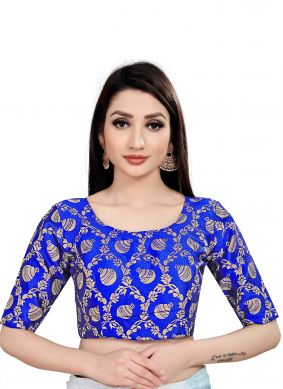Jacquard Blouse in Blue