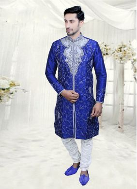 Jacquard Blue Embroidered Indo Western