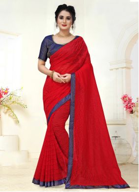 Red Jacquard Contemporary Saree