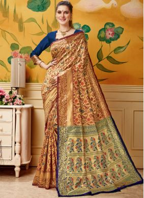 Jacquard Cream and Maroon Designer Traditional Saree