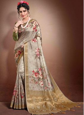 Jacquard Digital Print Brown Classic Saree