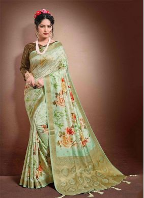 Jacquard Digital Print Green Classic Saree