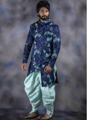 Jacquard Embroidered Blue Indo Western