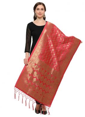 Jacquard Embroidered Designer Dupatta in Red
