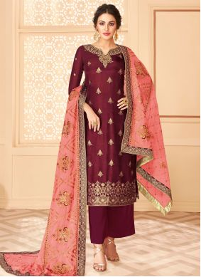 Jacquard Embroidered Maroon Trendy Palazzo Suit