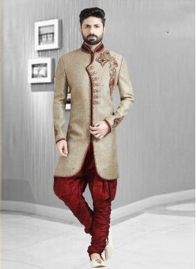 Jacquard Embroidered sherwani  in Beige