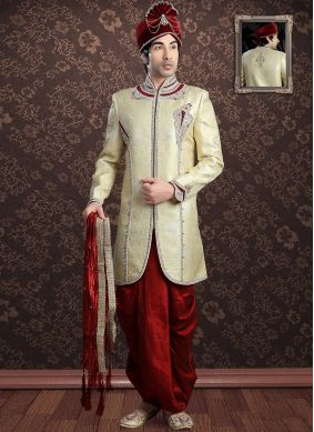 Jacquard Gold Embroidered Sherwani