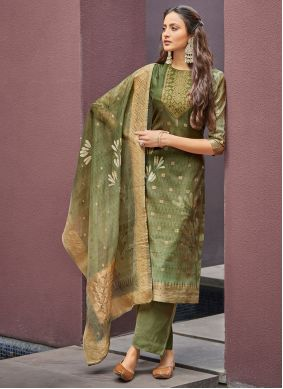 Jacquard Green Pant Style Suit