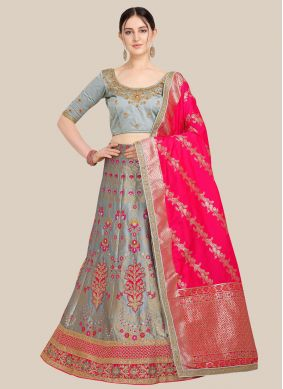 Jacquard Grey Embroidered Lehenga Choli