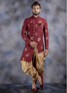 Jacquard Maroon Embroidered Indo Western