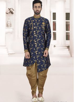 Jacquard Navy Blue Embroidered Indo Western