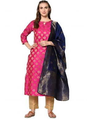 Jacquard Pink Abstract Print Pant Style Suit