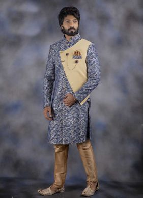 Jacquard Printed Indo Western in Blue