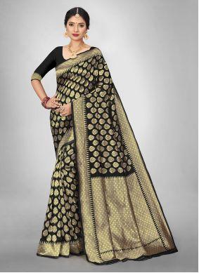 Jacquard Silk Black Saree For Casual