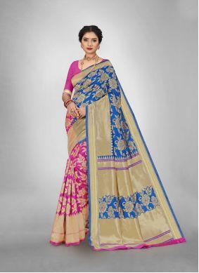Jacquard Silk Blue and Pink Weaving Silk Saree