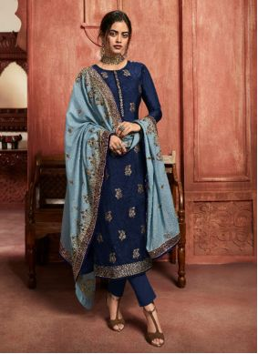 Jacquard Silk Embroidered Blue Pant Style Suit