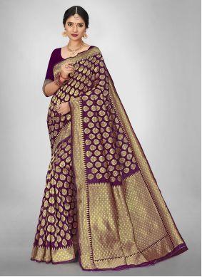 Purple Jacquard Silk Engagement Saree For Casual