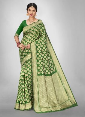 Jacquard Silk Green Weaving Saree