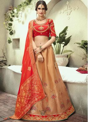 Jacquard Silk Lehenga Choli in Beige and Red