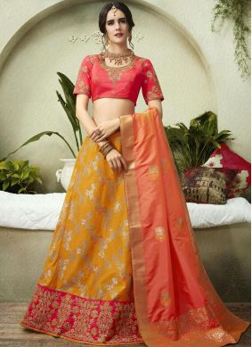 Jacquard Silk Mustard and Rose Pink Embroidered Lehenga Choli