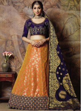 Jacquard Silk Orange Designer Lehenga Choli