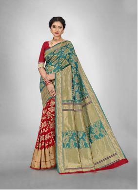 Jacquard Silk Weaving Red and Teal Silk Saree