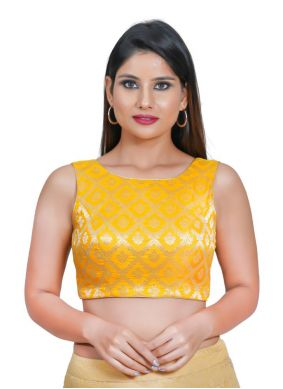 Jacquard Weaving Blouse in Yellow
