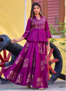 Jamawar Silk Designer Kurti in Purple