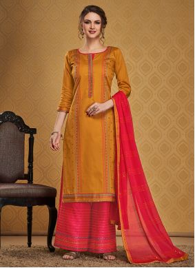 Jamawar Silk Embroidered Mustard Palazzo Suit