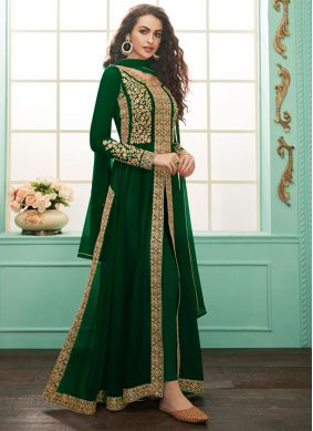 Jazzy Georgette Embroidered Green Salwar Suit