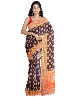 Kanjivaram Silk Brown Designer Saree