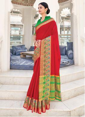 Khadi Silk Red Weaving Saree