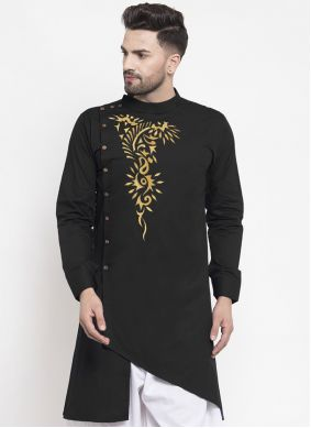 Kurta Embroidered Polly Cotton in Black