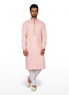 Kurta Pyjama Embroidered Brocade in Pink