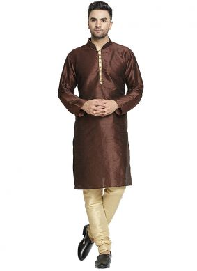 Kurta Pyjama Plain Art Dupion Silk in Brown