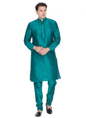 Kurta Pyjama Plain Art Dupion Silk in Sea Green