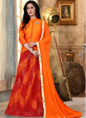 Lace Banglori Silk Readymade Lehenga Choli in Orange