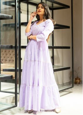 Lace Cotton Designer Gown in Purple