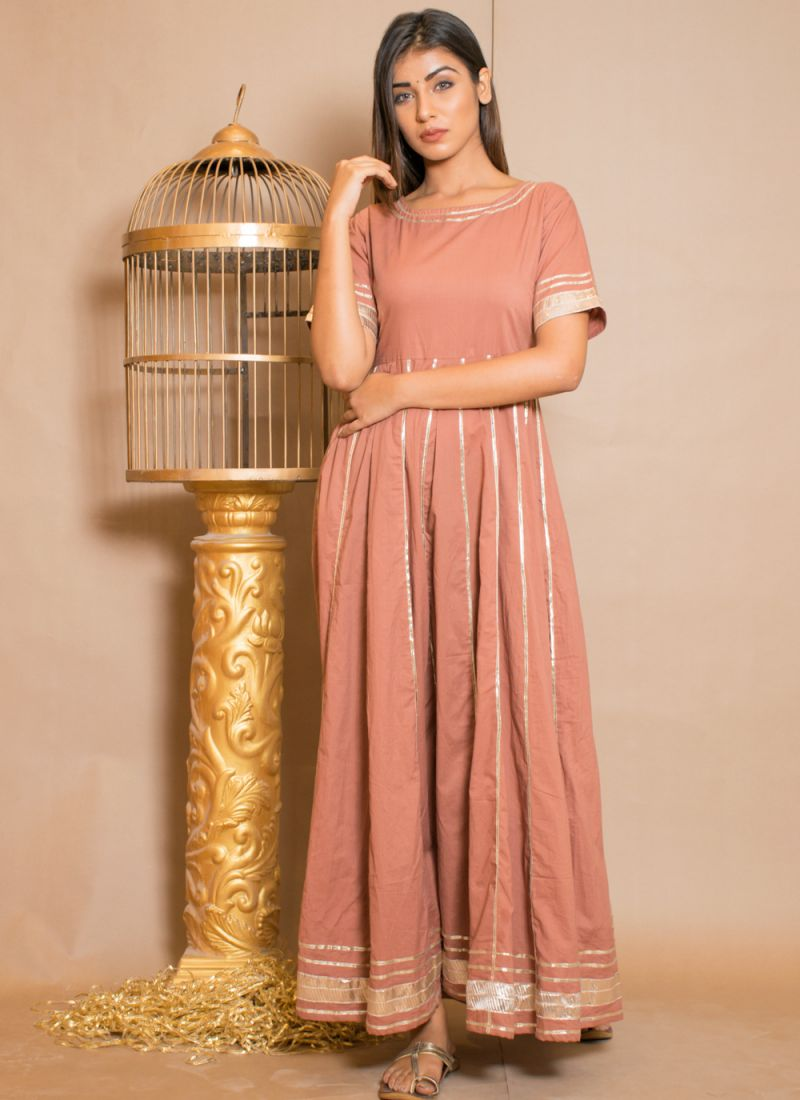 Brown Lace Cotton Gown