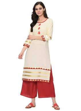 Lace Cream Poly Silk Party Wear Kurti