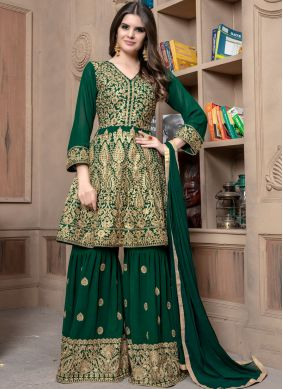 Lace Faux Georgette Designer Palazzo Suit in Green