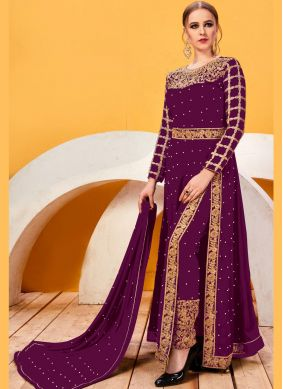 Lace Faux Georgette Pant Style Suit in Wine
